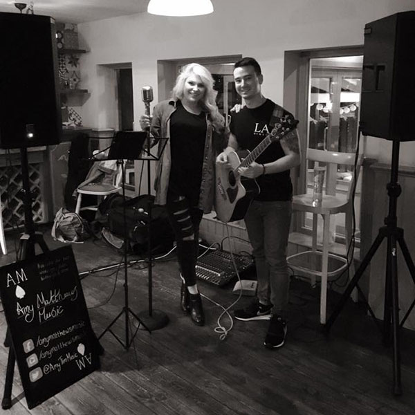 amy and tim before performing an acoustic set in Guildford